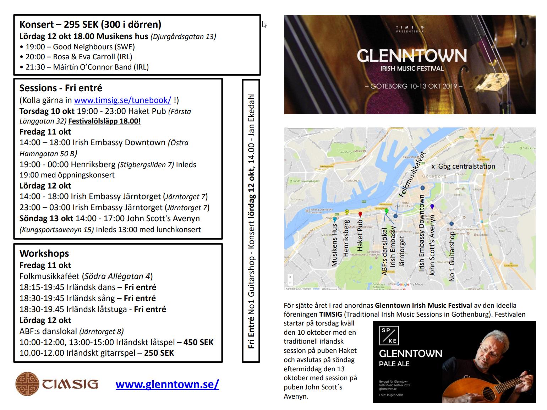 Glenntown 2019 infoblad